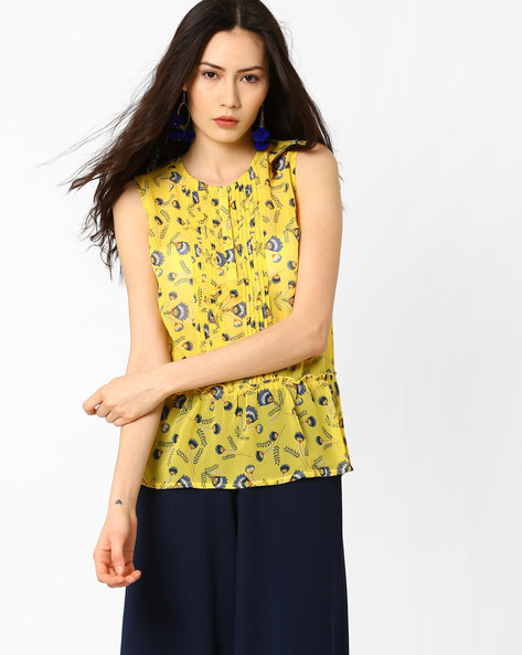 Floral Print Peplum Top By AJIO ( Yellow )