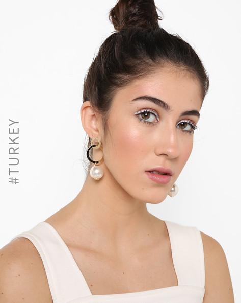 Circular-Shaped Dangler Earrings With Pearl Drop By TRENDYOL ( Multi )