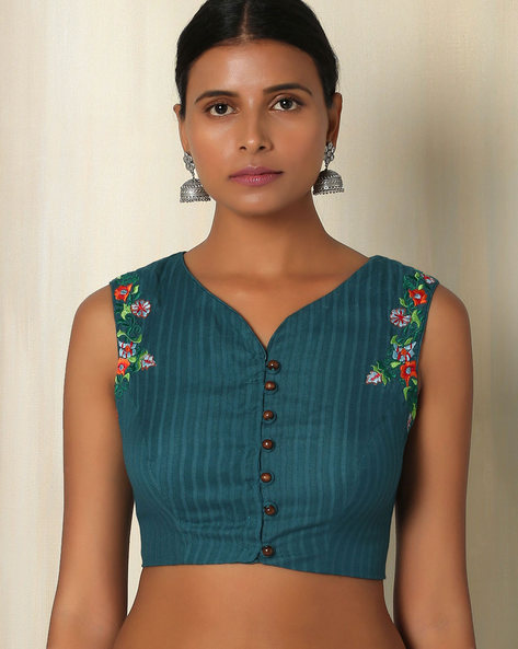 Embroidered Cotton Sleeveless Blouse By The Blouse Factory ( Blue )