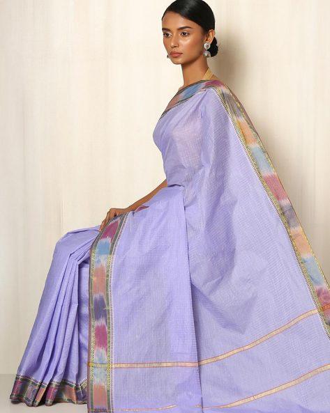 Kanchi Checked Cotton Saree By Indie Picks ( Lavender )