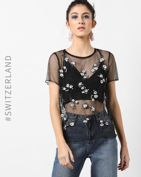 Woven Sheer Top With Floral Embroidery By TALLY WEiJL ( Black )