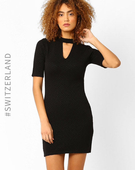 Knitted Bodycon Dress By TALLY WEiJL ( Black )