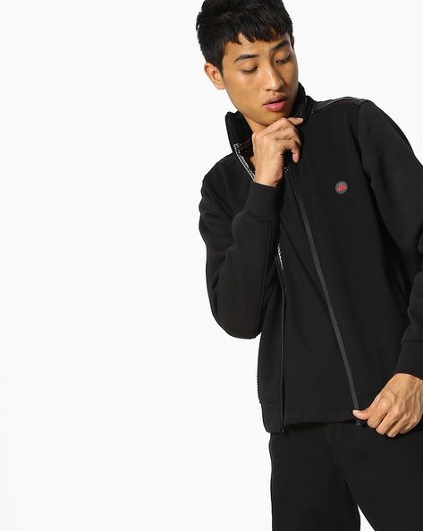 Front-Zip Sweatshirt With Pockets By Fort Collins ( Black )