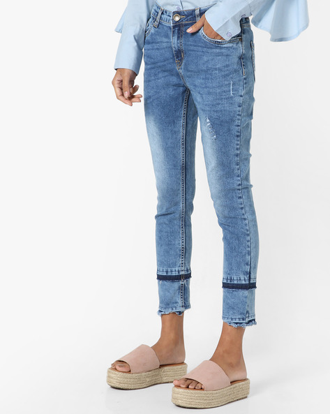 Mid-Washed Distressed Jeans By AJIO ( Lightblue )