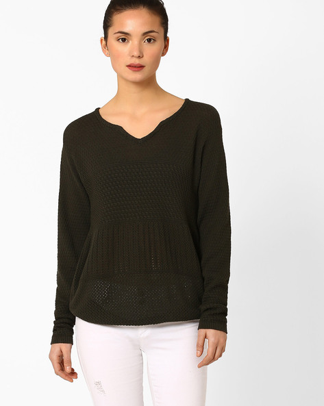 Knitted Pullover With Drop-Shoulders By AJIO ( Teal )