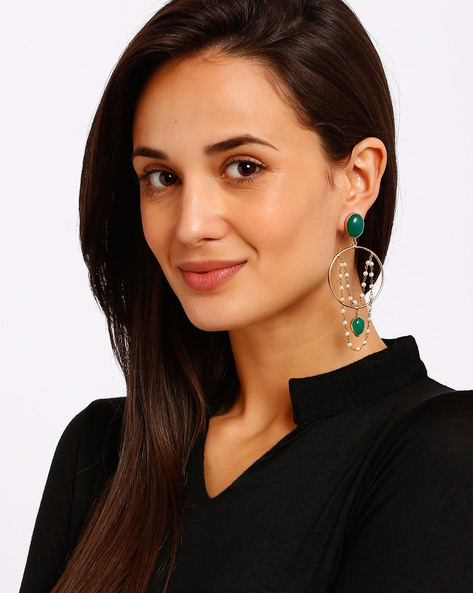 Gold-Plated Drop-Earrings With Beads By Ssoul ( Darkgreen )