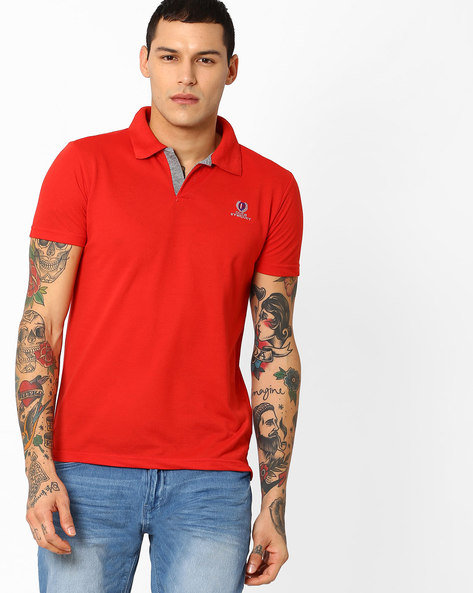 Polo T-shirt With Contrast Detail By DUKE ( Red )