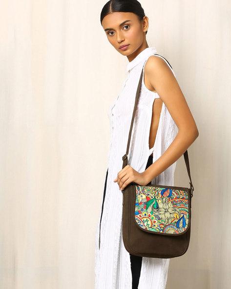 Hand-Painted Madhubani Leather Sling Bag By Moya ( Multi )