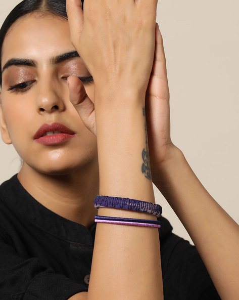 Hand-Embroidered Fabric & Thread Bangle Set By PADMAHASTHA ( Multi ) - 460092473001
