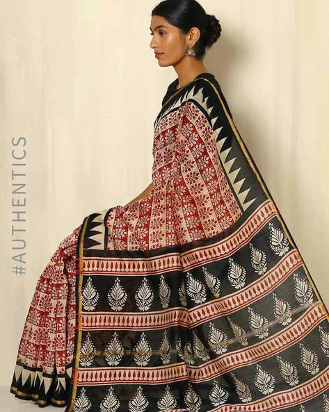 Bagru Handblock Print Chanderi Saree With Zari Border By Indie Picks ( Multi ) - 460053765001