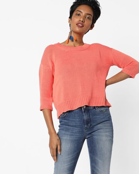 Crew-Neck Pullover With High-Low Hem By Lee ( Orange )