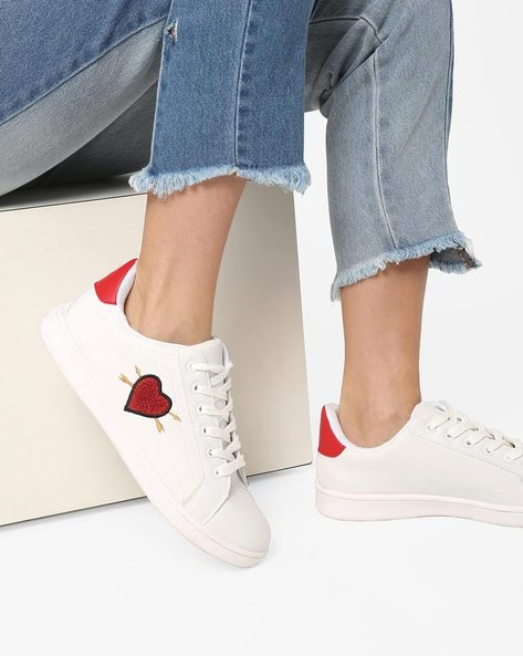 Low-Top Lace-Up Sneakers With Embroidery By Truffle Collection ( White )