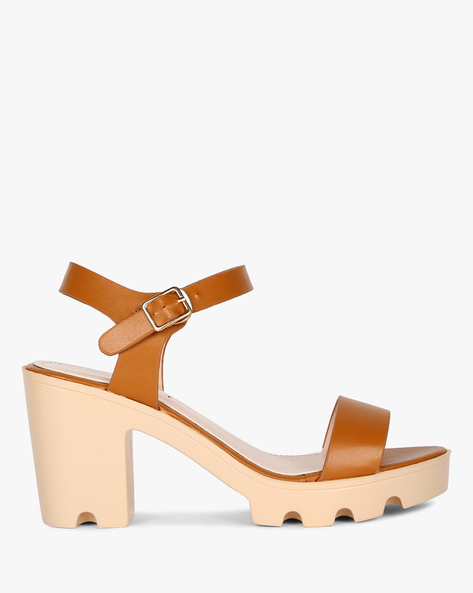 Classic Chunky Heel Sandals By MFT Couture ( Tan )