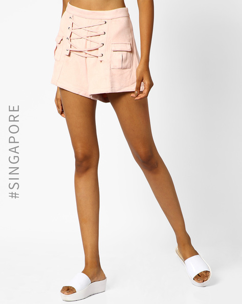 Lace-Up Suede Shorts With Patch Pockets By MDS ( Pink )