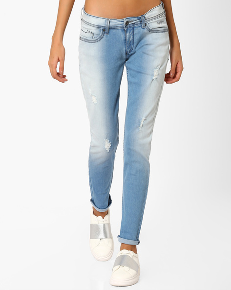 Washed Distressed Skinny Jeans By Pepe Jeans ( Blue )