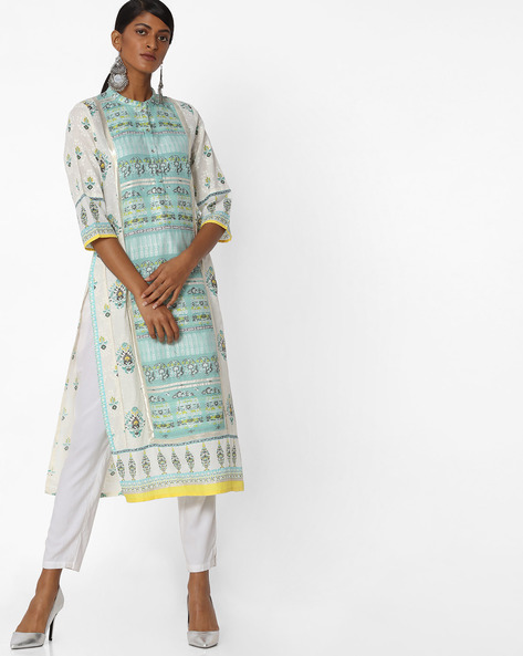 Cotton Straight Kurta With Mandarin Collar By W ( Blue )