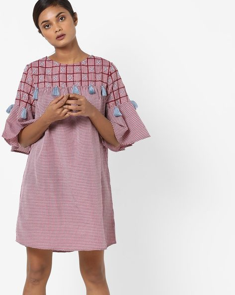 Checked Shift Dress With Tassels By Rena Love ( Maroon )