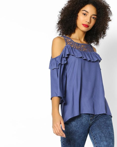 Cold-Shoulder Top With Lace Yoke By DNMX ( Blue )