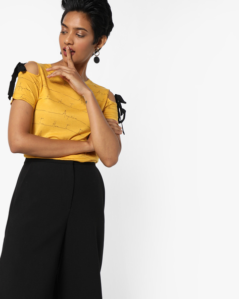 Printed Cold-Shoulder Jersey Top By AJIO ( Mustard )