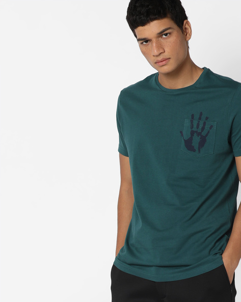 Slim Crew-Neck T-shirt With Printed Pocket By AJIO ( Teal )