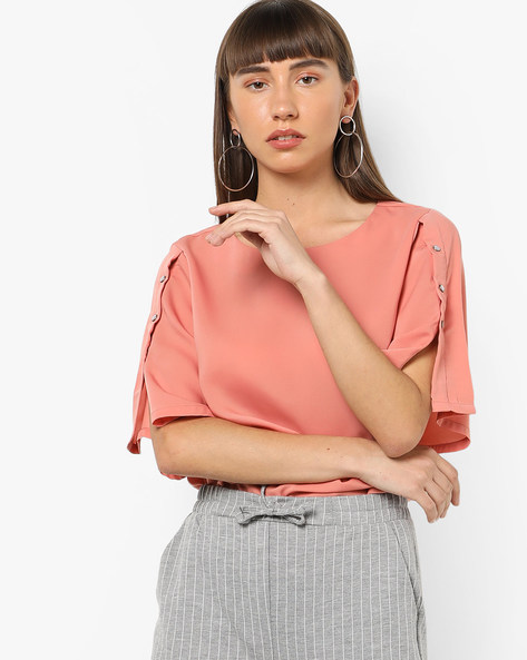 Boxy Top With Buttoned Sleeves By AJIO ( Pink )