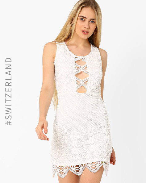 Lace Bodycon Dress By TALLY WEiJL ( Offwhite )