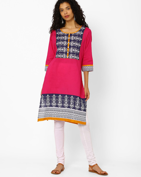 Printed Cotton Straight Kurta By AVAASA MIX N' MATCH ( Magntafusha )