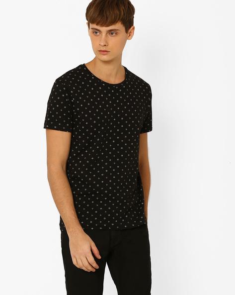 Printed Slim Fit T-shirt By ADAMO LONDON ( Greymelange )