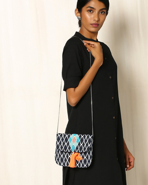 Cotton Jacquard Sling Bag By Indie Picks ( Navyblue )