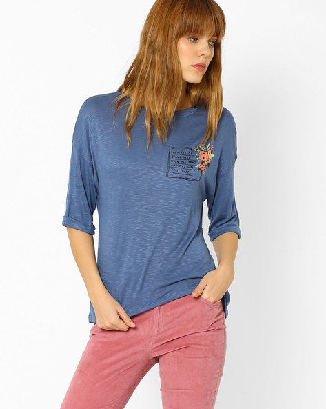 Heathered Top With Back Slit By AJIO ( Blue )