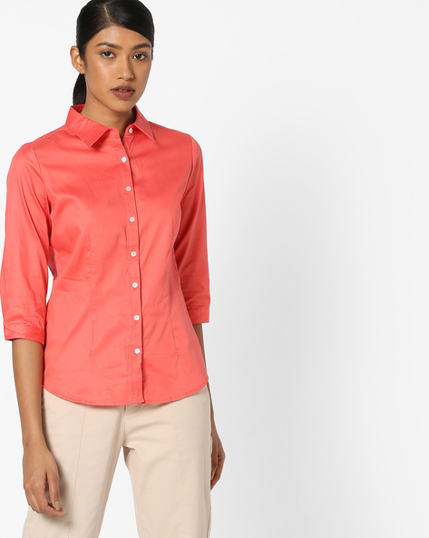 Cotton Shirt With Button Placket By FIG ( Coral )