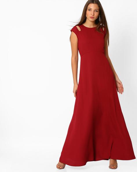 A-line Maxi Dress By Femella ( Maroon )