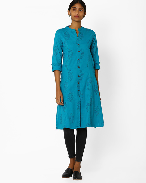Printed Kurta With Front Slit By AVAASA MIX N' MATCH ( Turquoise )