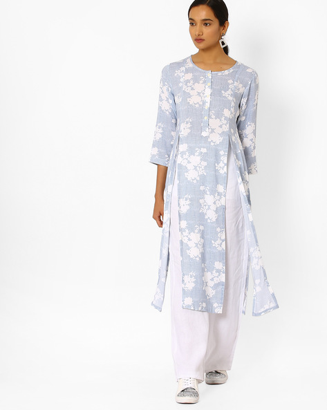 Printed Kurta With Front Slits By Bannos Swagger ( Blue )