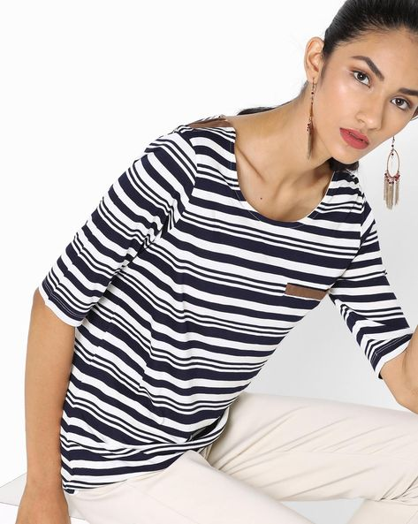 Striped Top With Welt Pocket By Fame Forever By Lifestyle ( Navy )