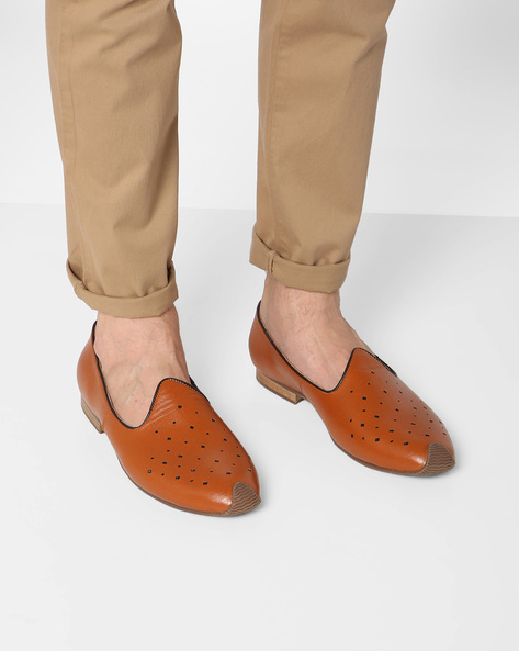 Casual Slip-Ons With Perforations By AJIO ( Tan )