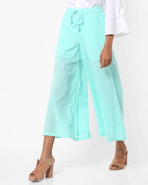Mid-Rise Culottes With Tie-Up By AJIO ( Aqua )
