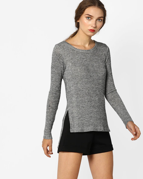 High-Low Top With Ribbed Hems By CODE By Lifestyle ( Grey )