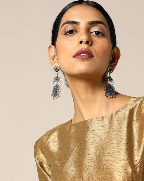 Dual-Toned Layered Statement Brass Earrings By Studio B40 ( Goldensilver )