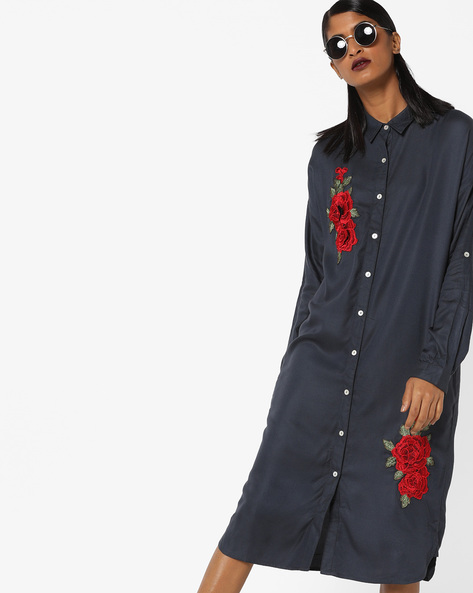 Shirt Dress With Floral Embroidery By AJIO ( Darkgrey )
