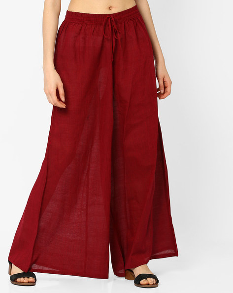 Handwoven Mangalgiri Cotton Palazzo Pants By SWADESH ( Maroon )