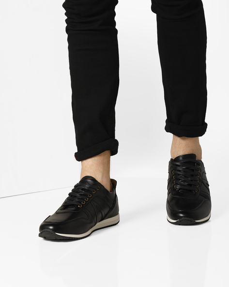 Textured Sneakers With Perforated Panels By AJIO ( Black )