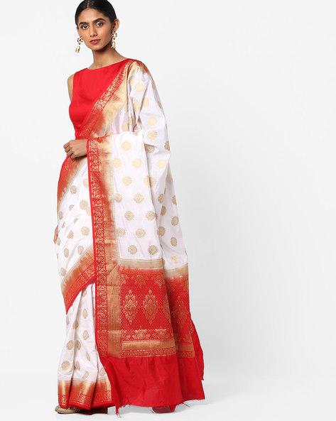 Banarasi Art Silk Saree With Zari Border By Viva N Diva ( Cream )