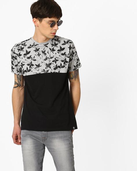 Cut & Sew Floral Print T-shirt By Garcon ( Greymelange )