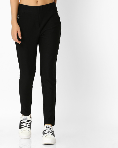Ankle-Length Treggings With Elasticated Waist By RIO ( Black )