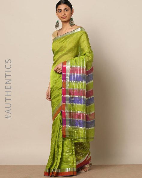 Handloom Mangalgiri Striped Cotton Silk Zari Saree By Indie Picks ( Green )
