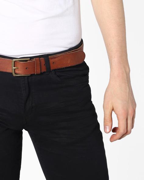 Genuine Leather Textured Belt By Jack & Jones ( Tan )
