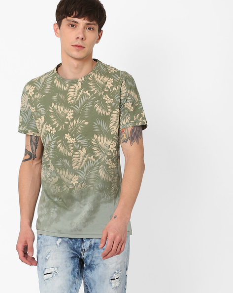 All-Over Tropical Print T-shirt By AJIO ( Green )
