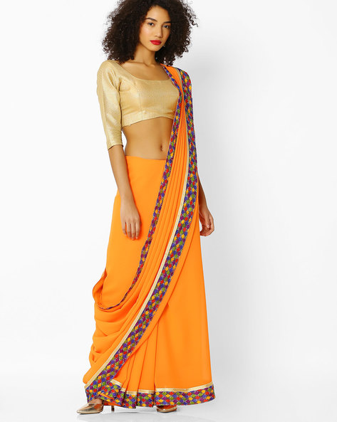 Printed Saree With Blouse By Florence ( Rust )