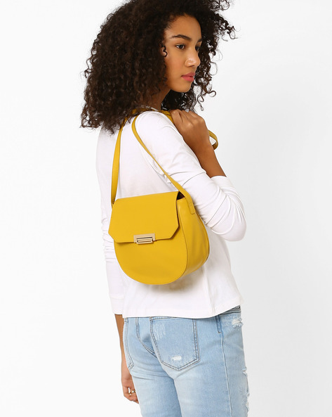 PU Sling Bag By AJIO ( Mustard )